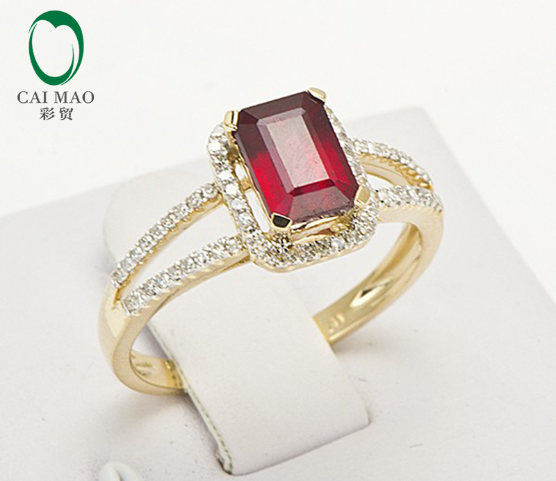 Free Shipping 1.48ct 14K Yellow Gold Red Ruby and Natural Diamond Ring Jewelry free shipping 1 48ct 14k yellow gold red ruby and natural diamond ring jewelry
