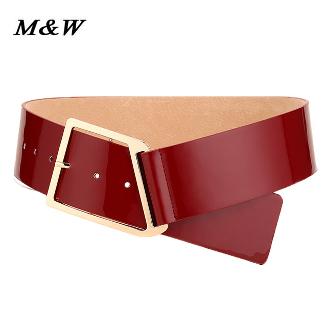 2017 Korean New Patent Leather Wide Ceinture Luxury Oblique Buckle Really Leather Ceinture Decorated Fashion Wild Corset Belt