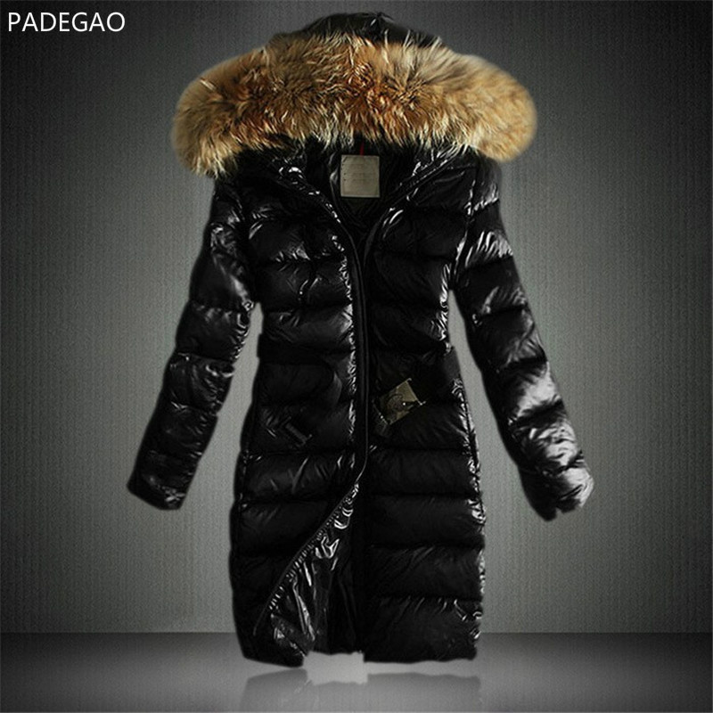 New Women Winter Parkas Hooded Fur Collar Long Warm Coat Thickening Jackets Casual Down Cotton belt Outwear Wadded Jacket femal