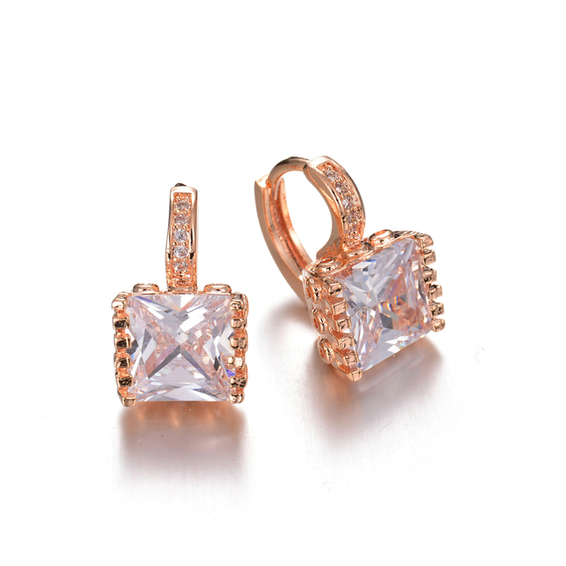 2017 New Square Clic Design Gold Plated Cushion Cut Cz Diamond Hoop Earrings For Women