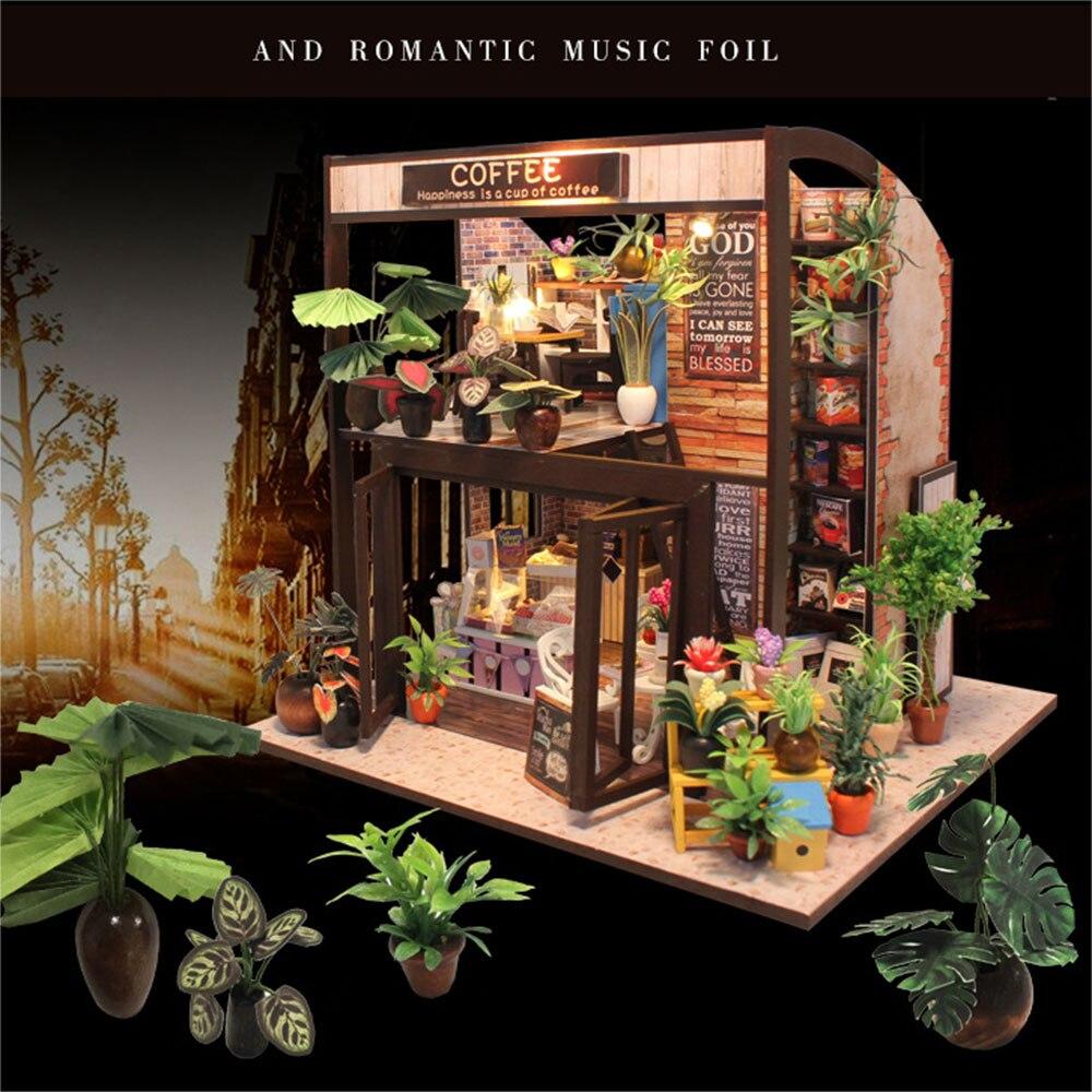 Миниатюрный Кукольный дом DIY Кофейня для кофе мини модельные украшения флэш микро-пейзаж DIY игрушка подарок ремесло DIY Дом