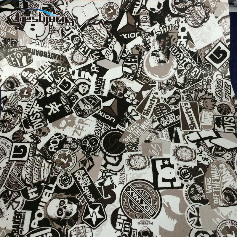 Black White Stickerbomb Vinyl Wrap Graffiti Cartoon JDM Printed Decorative Adhesive Film Sheet For Racing Car Motocycle Bike In Stickers From