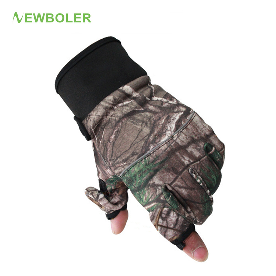 Winter fishing gloves camouflage full 2 half finger gloves for Winter fishing gloves