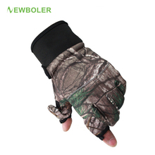 Winter Fishing Gloves Camouflage Full/2 Half Finger Gloves Hunting Camping Anti Slip Gel Outdoor Sports Gloves