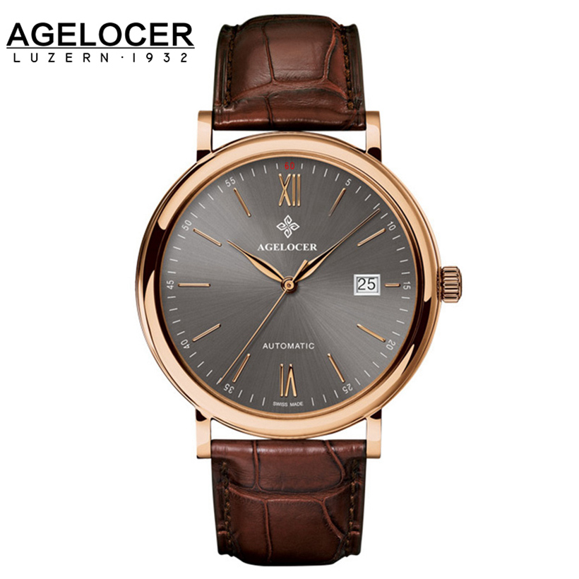 Agelocer Luxury Charm Wrist Watches For Men Solid Rose Gold Watch Clock Men Stainless Steel Mesh bracelet relogio masculino new clock gold fashion men watch full gold stainless steel quartz watches wrist watch wholesale kezzi gold watch men k1174