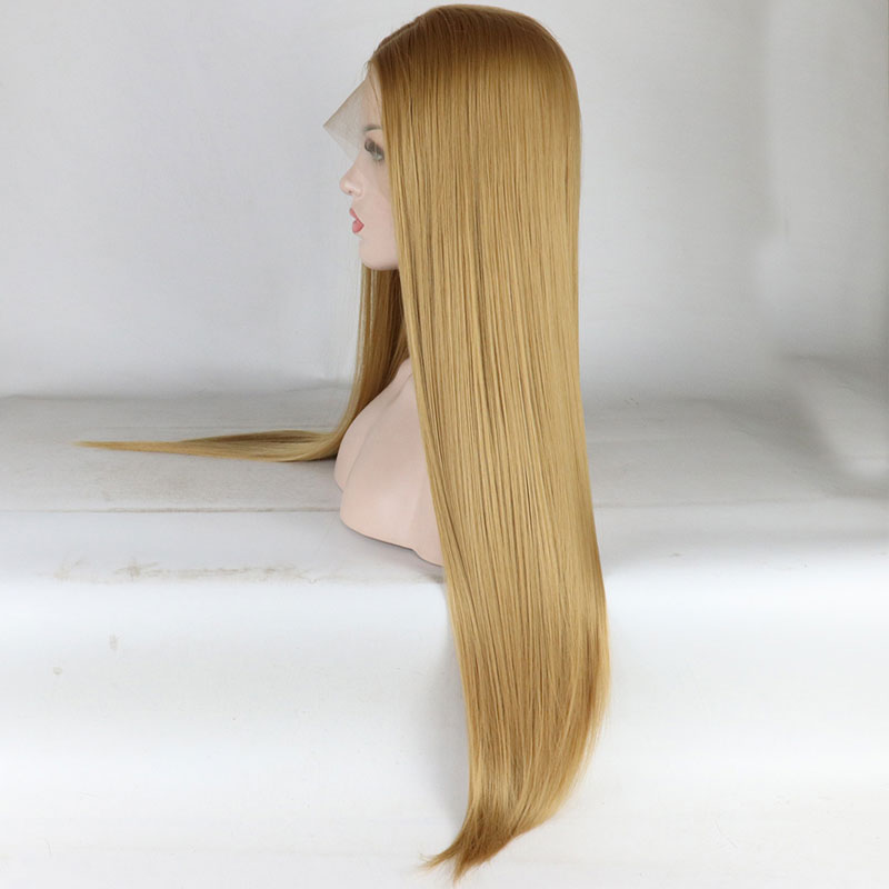 Bombshell Gold Blonde Long Straight Synthetic Hair Lace Front Wig Glueless Heat Resistant Fiber Middle Parting