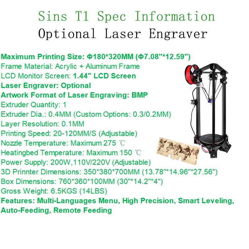 Sinis T1 3D Drucker Optional Laser Engraving Auto Feeding Smart Leveling Large Print Size Reprap i3 Printer Delt 3D Printer kit in 3D Printers from Computer Office