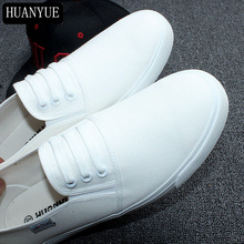 New 2018 Fashion Spring Men's Flats Solid White Black Canvas Shoes Breathable Men Casual Shoes Leisure Loafers Zapatos Hombre