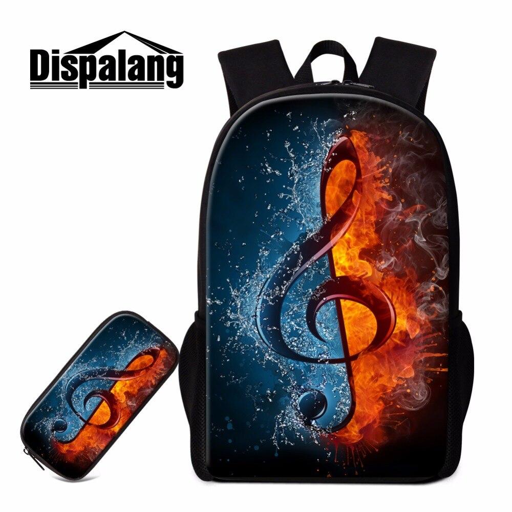 Dispalang стильный школьный рюкзак и пеналы для девочек, художественный рюкзак с принтом музыкальных нот, рюкзак для детей, спортивные сумки для книг