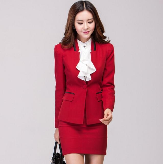 Новый элегантный красный Большой размер XXXL 2015 Femininos мода тонкий профессиональные деловые костюмы с юбкой и куртка униформа косметолога