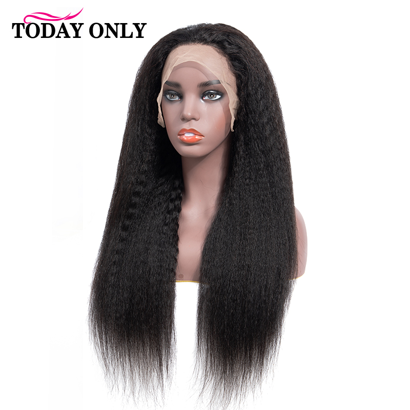 TODAY ONLY Peruvian Kinky Straight Wig 250 Density Lace Front Human Hair Wigs For Black Women