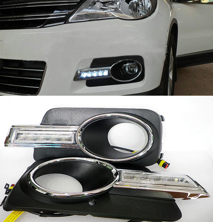 ФОТО White 12V Daytime Running Light DRL For Volkswagen VW Tiguan 2010-2012
