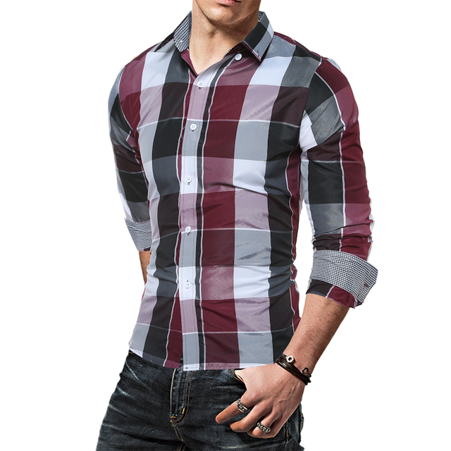 ba3ca9cb5ff3c 2017 Nuevos hombres de la Llegada camisa A Cuadros de Manga Larga Camisas  Para Hombre Camisa