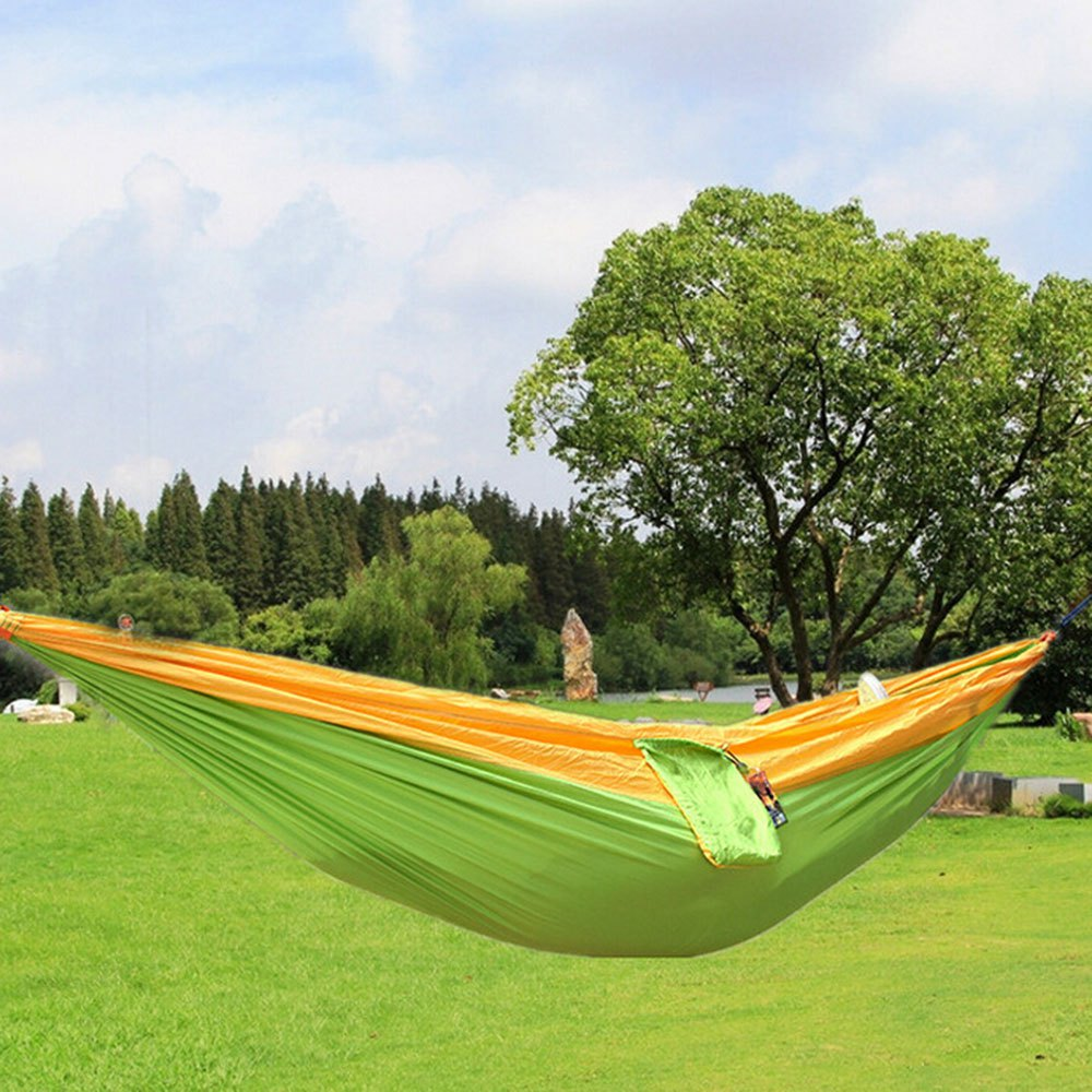 Newest Portable Fabric Camping Hammock Double Person Nylon Hammock Parachute Durable Assorted Color For Indoor Outdoor Use