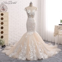 Romantic Long Lace Wedding Dress Sweetheart Long Sleeve Court Train Mermaid Wedding Dresses Gowns Vestido de noiva 2017