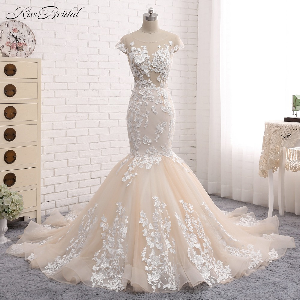 Romantic long lace wedding dress sweetheart long sleeve for Aliexpress mermaid wedding dresses