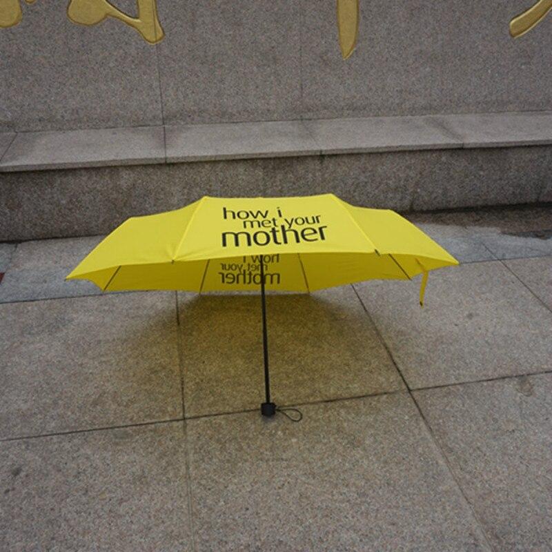 Yellow Umbrella How I Met Your Mother Umbrella Women Folding Umbrellas Rain Women Parasol Female Rain Gear for Photo booth Props