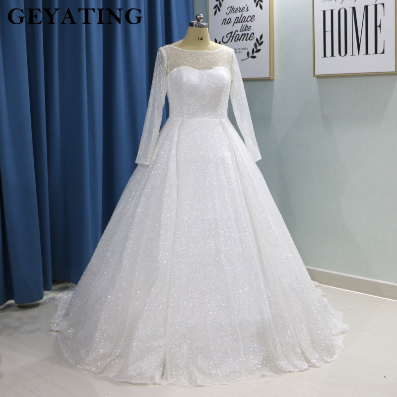 US $179.2 20% OFF Glitter White Bling Bling Ball Gown Wedding Dress Long  Sleeves Princess Plus Size Bride Dresses 2019 Luxury Sparkly Wedding  Gown-in ...