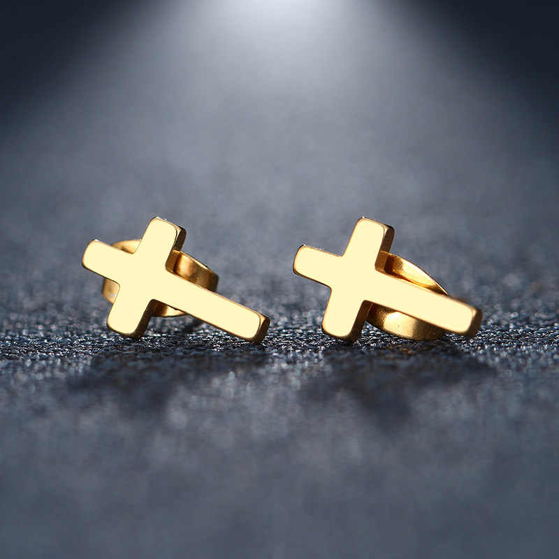 DOTIFI Stainless Steel Stud Earring For Women Man Cross Gold And Silver Color Lover's Engagement Jewelry Drop Shipping
