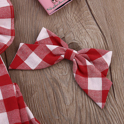 Nuovo Modo di Stile Britannico Plaid Rosso Neonate Tuta Tuta Plaid Indietro Croce Manica Corta Neonate Vestiti Rosso 0-18 M 5