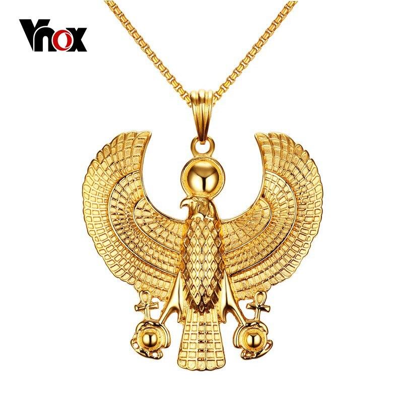 Vnox Or-couleur Horus Collier Hommes Bijoux En Acier Inoxydable Coulée Colliers et Pendentifs Chaîne Gratuite 24