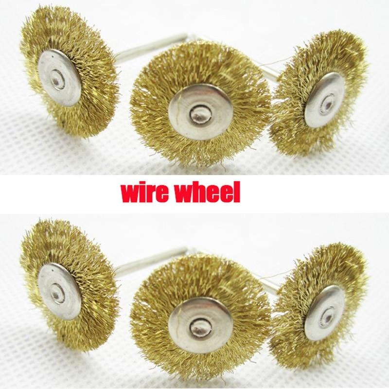 10 stks Draadwiel dremel accessoires rotatiegereedschap voor mini boorgereedschap mini roestvrijstalen draadborstel ontbraamde geborstelde wielen