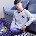 Plus Size M-XXXL 100% Cotton Autumn & Winter Long Sleeve Pyjamas Mens Pajama geometry Man Nightwear Sleepwear Nightgowns For Men
