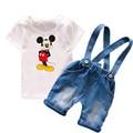 Niño Niños Ropa Establece Muchachos de Los Cabritos Ropa de Verano 2017 de Dibujos Animados Mickey Bebés Ropa de Moda Suspender Jeans Shorts T6