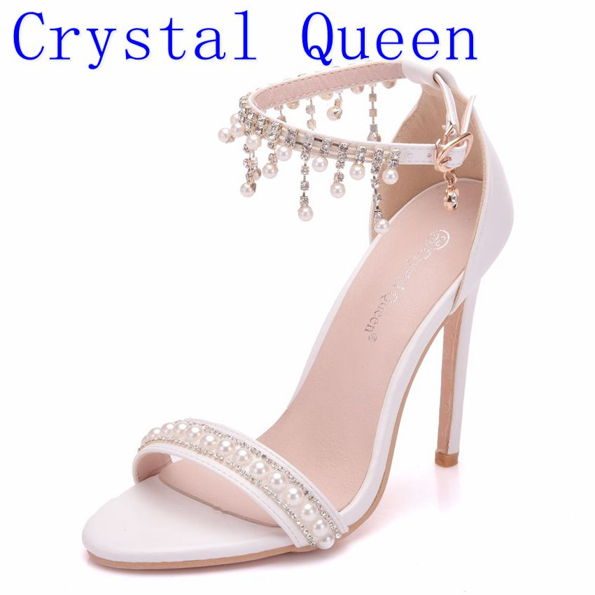 Crystal Queen Sexy Women Sandals High Heels Pearl Rhinestone 11CM Thin Heel Sandals Woman Open Toe Ankle Strap Party Shoes PUMPS