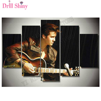 5PCS full square Diamond Embroidery diy 5d King of rock Elvis Photo Guitar 3d Picture diamond Painting cross stitch wall arts
