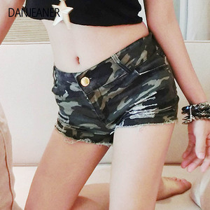 DANJEANER Euro Style Camouflage Ripped Jean Shorts for Women Summer Plus Size Casual Skinny Denim Shorts Hot Pants Streetwear