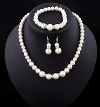 Classic Imitation Pearl Silver Plated Clear Crystal Set