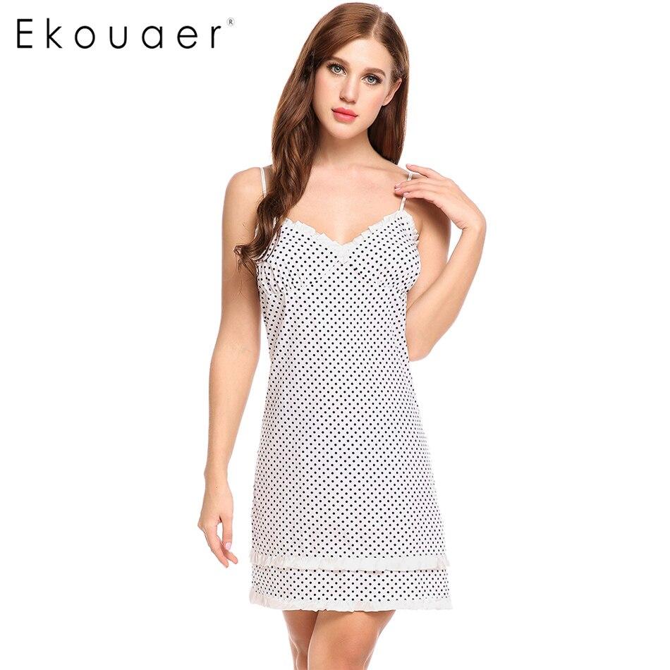 Ekouaer Polka Dot   Sleepshirts     Nightgown   Women Sexy Spaghetti Strap Nightdress Lace Patchwork Lingerie Dress Summer Sleepwear