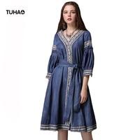 TUHAO Spring Lantern Sleeve Embroidery Denim Dress V neck Kimono Style Sashes High Waist Indie Folk Vintage Dresses Women T82071