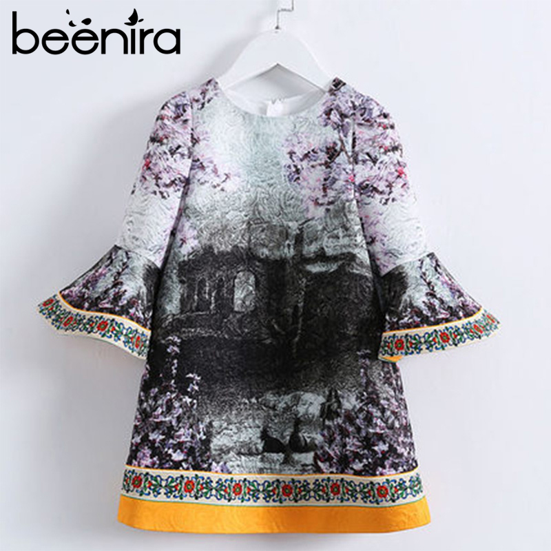 Beenira Children Princess Dresses 2018 European And American Style Girl Flare Three Quarter Dress Ink Painting Girls Dress 4-14Y fashionable spaghetti strap ink painting high low dress