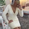 Sexy V-Neck White Lace Mermiad Short Cocktail Dresses 2017 Long Sleeves Appliques Pearls Girls Party Dresses robe de cocktail