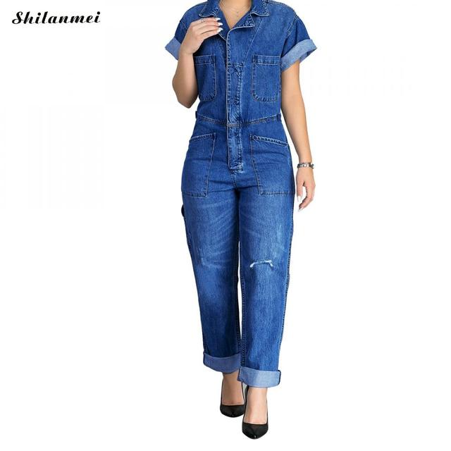Fashion Blue Denim Overalls Women Summer Short Sleeve Denim Jumpsuit