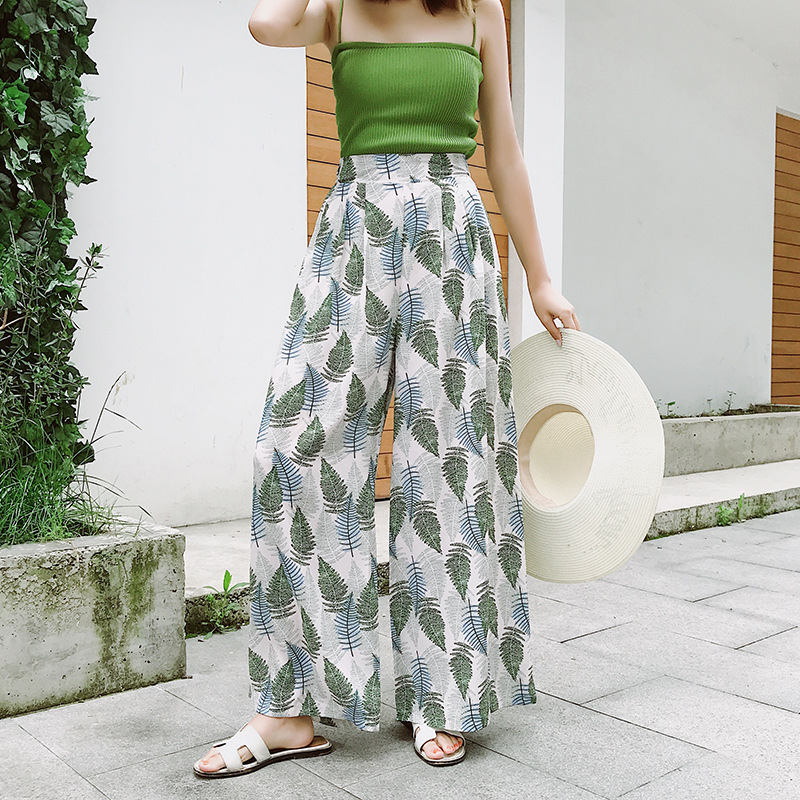 Retro High Waist Leaves Printed Chiffon Wide Leg Pants Female Summer Casual Loose Beach Elegant Vintage Nine Pants Women 2019