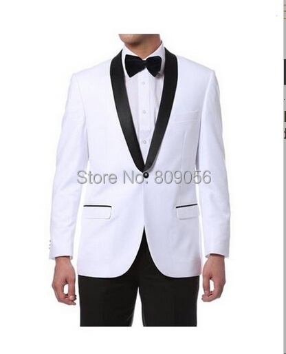nouvelle arriv e 2015 blanc groom tuxedos noir ch le revers mariage epoux homme costumes costume. Black Bedroom Furniture Sets. Home Design Ideas
