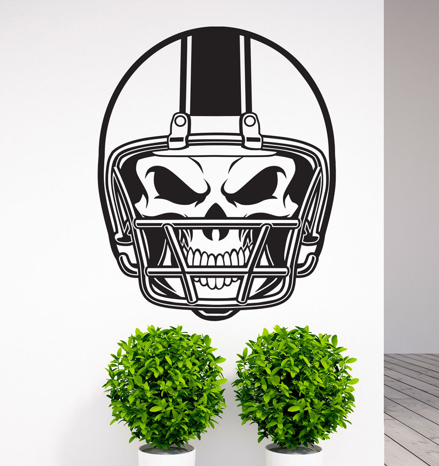 Removable American Football NFL Helmet Skull Vinyl Wall Decal Art Sticker Home Living Room Bedroom Wall Decor Mural Sports YO-5