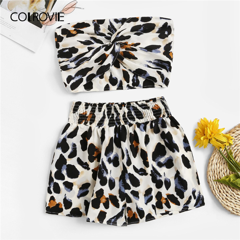 COLROVIE Leopard Print Twist Front Crop Bandeau Top With Shorts Sexy Two Piece Set 2019 Summer Streetwear Women 2 Piece Outfits