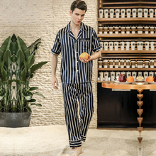 PS0177 2018 New Pajamas Men Striped Satin Silk Pyjamas Male Short Sleeves Long Pants Pajama Sets Brand Sleepwear Nightwear