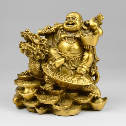 China Shoushan stone wealth dragon turtle maitreya Buddha statue