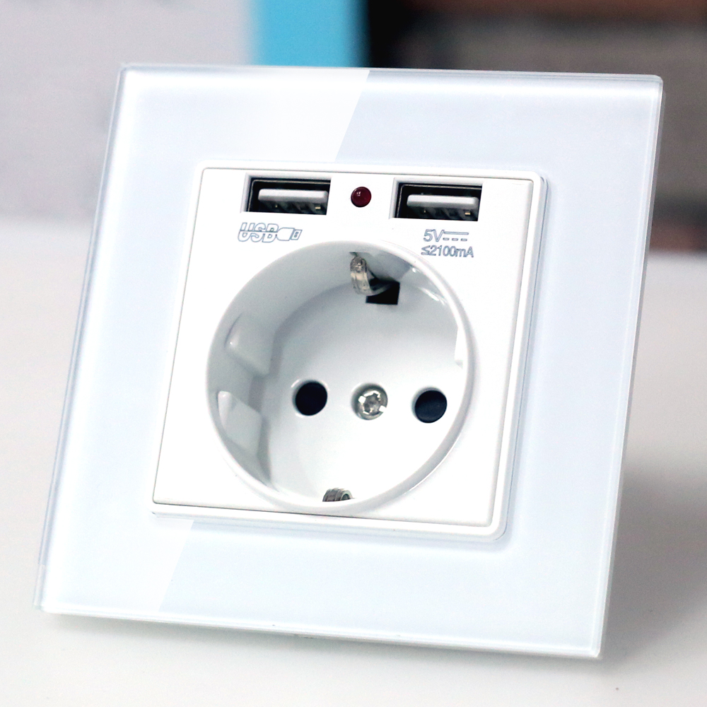 EU wall Power plug Socket with usb outlet, Glass 2A Dual USB Charger plug wall outlet, 16A 2100ma Electrical Wall Power Socket цены