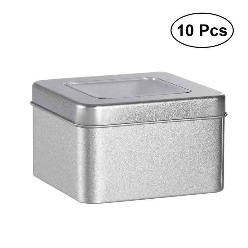 Giá tốt nhất 10 cái Matte Rõ Ràng Top Vuông Rỗng Tin cho các Cửa Hàng Gia Vị Kẹo Quà Tặng Trà Cho Trà Bạc Caddies nhà bếp Teaware