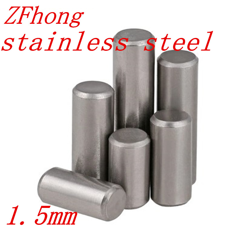 200pcs GB119 Diameter 1.5mm M1.5 304 Stainless Steel Cylindrical Pin Dowel Pins L=6/8/10/12/16/20