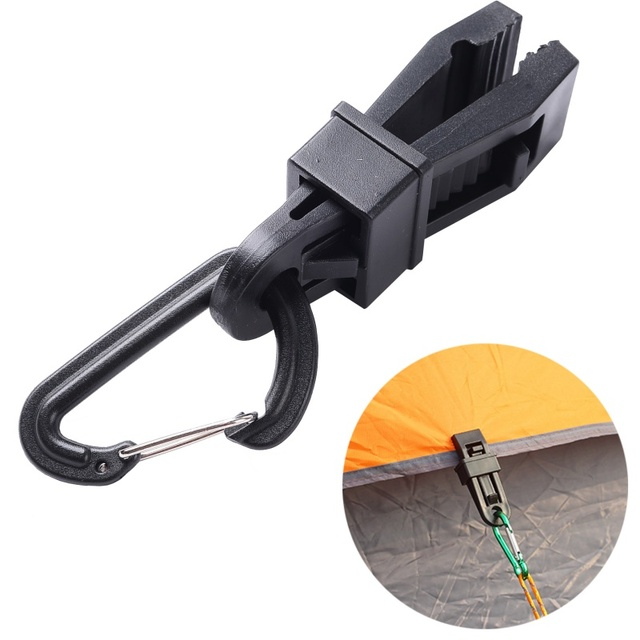 Tent clip + carabiner Awning Wind Rope Awnings Clamp Outdoor Camping plastic Clip Tents Awning Clip Accessories