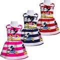 2015 Muchachas de La Manera de Princesa Raya Del Verano Sin Mangas Del Cuello de O Vestido de Fiesta Encantadora Minnie Mouse Vestido W/Correa 2-7Y