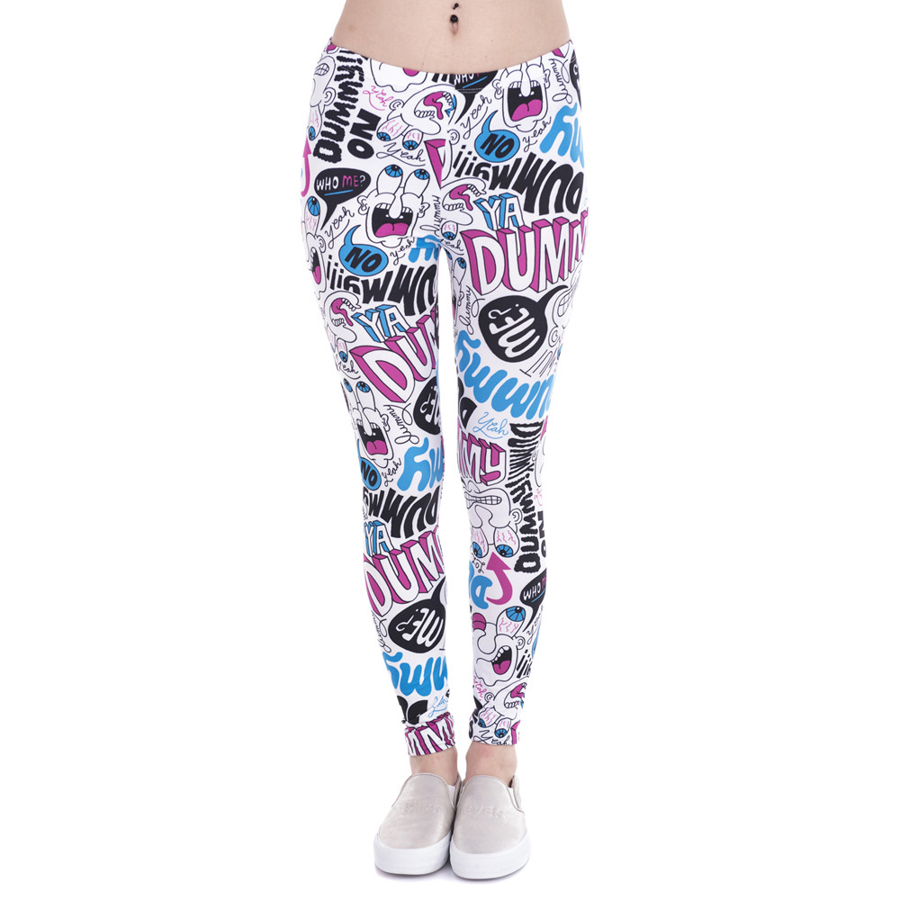 Brand New Fashion Women Leggings Dummy Doodle Printing Leggins Fitness Legging Sexy High Waist Woman Pants