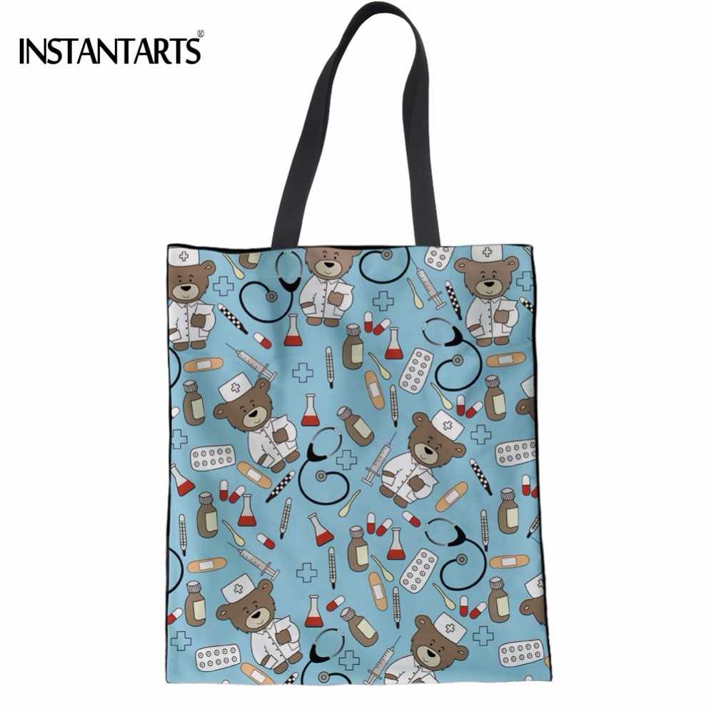INSTANTARTS Funny Cartoon Nurse Bear Print Women Linen Shopping Bag Female Nursing Design Recyling Bags Multi-function Eco Bag ...